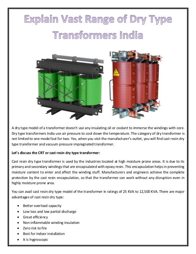 Explain Vast Range of Dry Type Transformers India