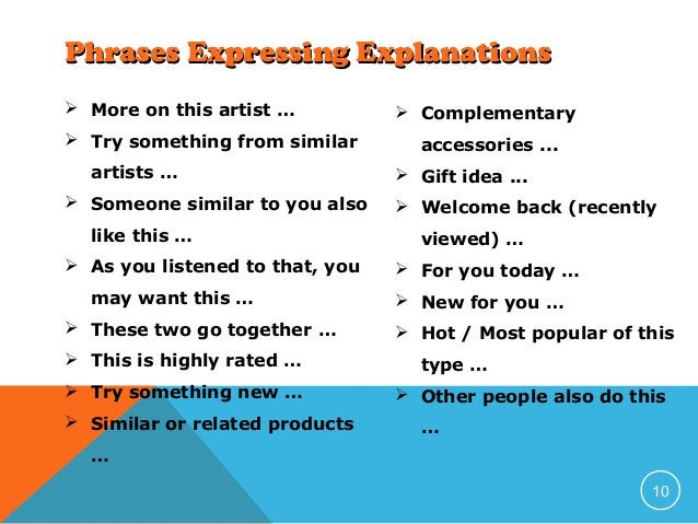 Phrases Expressing Explanations  More on this artist …  Try something from similar artists …  Someone similar to you al...