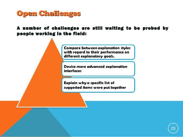 Open Challenges A number of challenges are still waiting to be probed by people working in the field:  25