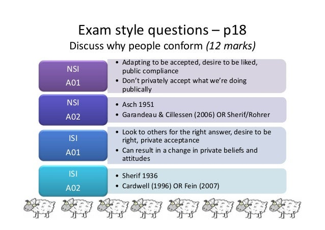discuss explanations of why people conform Before we begin our examination of conformity and deviance, we need to discuss some important points about norms  why conform why do people conform to group .