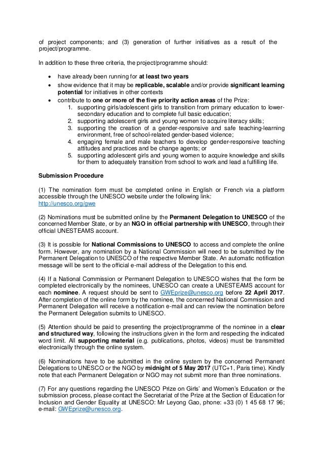 Explanatory note 2017 - UNESCO Prize on Girls' and Women's