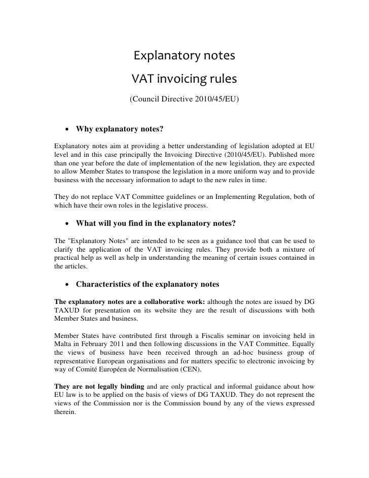 explanatory notes vat invoicing rules