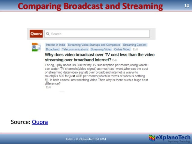 Source: Quora 14 Public – © eXplanoTech Ltd. 2014 Comparing Broadcast and Streaming