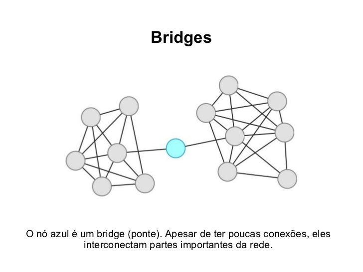BridgesO nó azul é um bridge (ponte). Apesar de ter poucas conexões, eles             interconectam partes importantes da ...