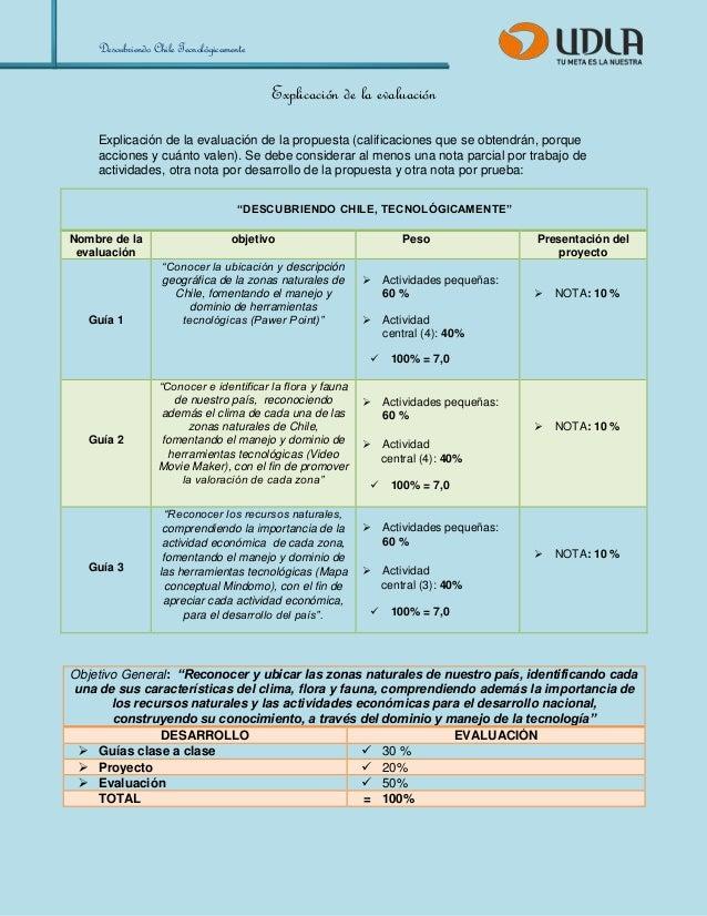 Descubriendo Chile Tecnológicamente  Explicación de la evaluación  Explicación de la evaluación de la propuesta (calificac...