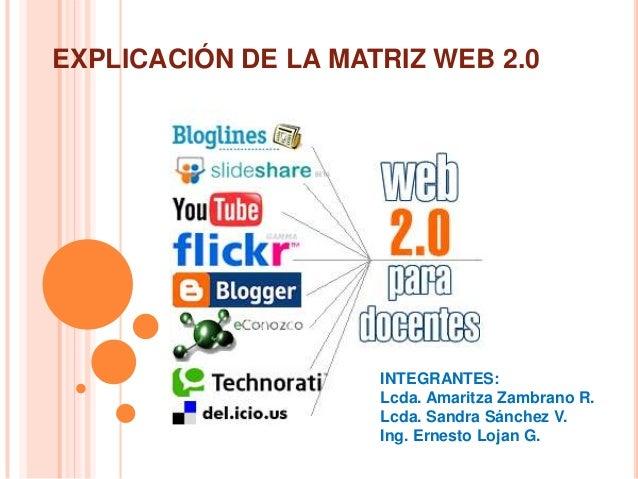 EXPLICACIÓN DE LA MATRIZ WEB 2.0 INTEGRANTES: Lcda. Amaritza Zambrano R. Lcda. Sandra Sánchez V. Ing. Ernesto Lojan G.