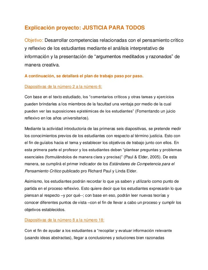 Explicación proyecto: JUSTICIA PARA TODOSObjetivo: Desarrollar competencias relacionadas con el pensamiento críticoy refle...