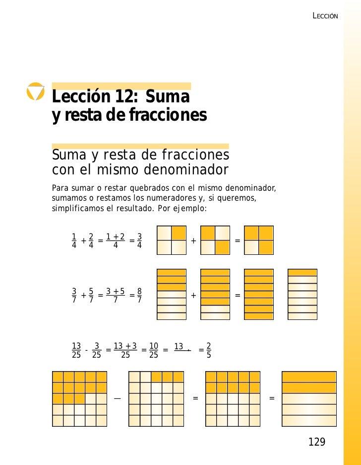 LECCIÓNLección 12: Sumay resta de fraccionesSuma y resta de fraccionescon el mismo denominadorPara sumar o restar quebrado...