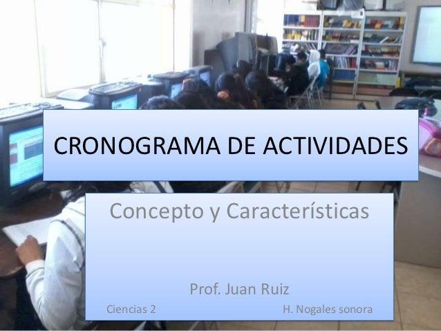 CRONOGRAMA DE ACTIVIDADES   Concepto y Características                Prof. Juan Ruiz   Ciencias 2                H. Nogal...