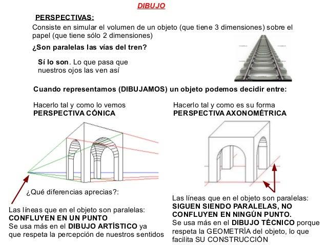 DIBUJO PERSPECTIVAS: Consiste en simular el volumen de un objeto (que tiene 3 dimensiones) sobre el papel (que tiene sólo ...