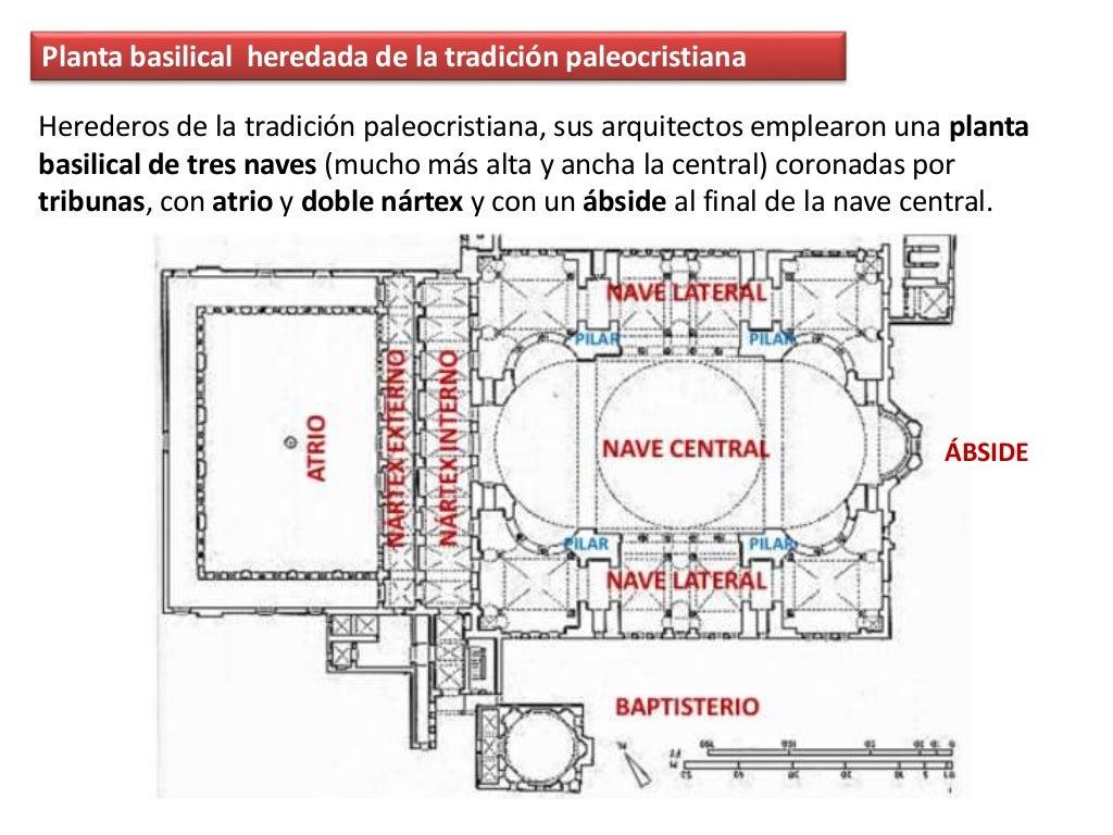 Planta basilical heredada de la tradición paleocristiana Herederos de la tradición paleocristiana, sus arquitectos emplear...