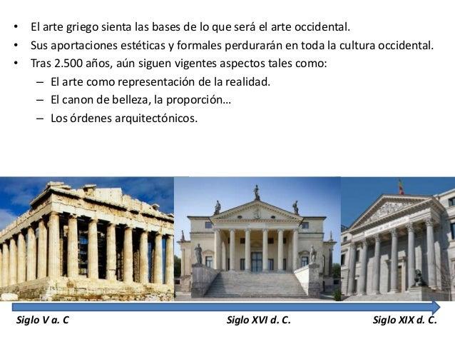Explica las características esenciales del arte griego y su evolución en el tiempo Slide 2