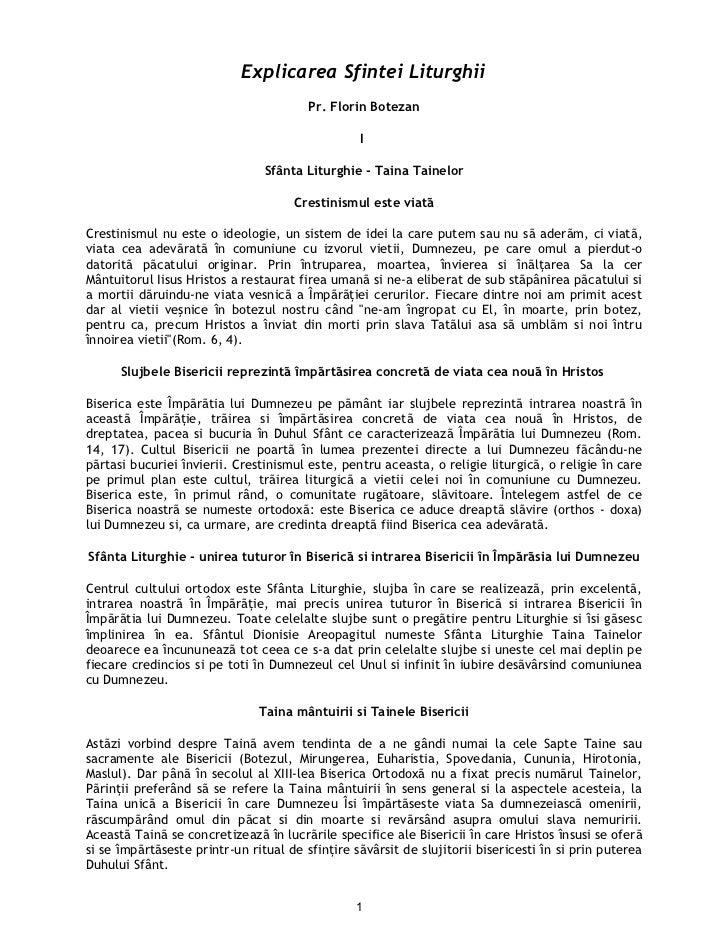 Explicarea Sfintei Liturghii                                        Pr. Florin Botezan                                    ...
