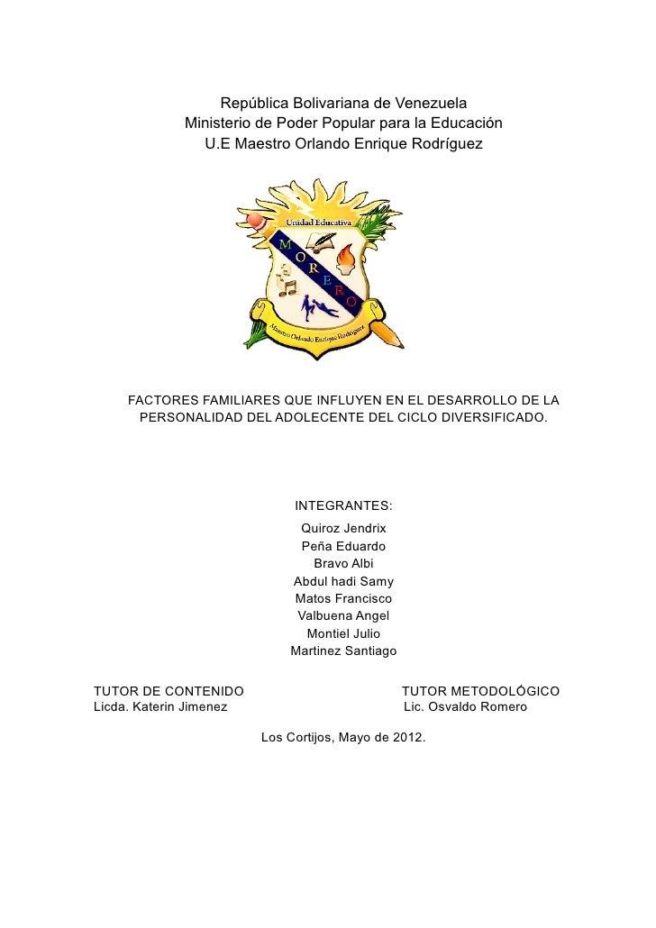 República Bolivariana de Venezuela             Ministerio de Poder Popular para la Educación               U.E Maestro Orl...