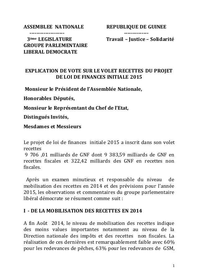 1  ASSEMBLEE NATIONALE REPUBLIQUE DE GUINEE  -------------------- --------------  3ème LEGISLATURE Travail – Justice – Sol...