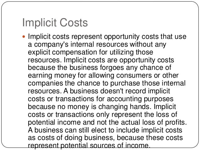 difference between implicit cost and opportunity cost