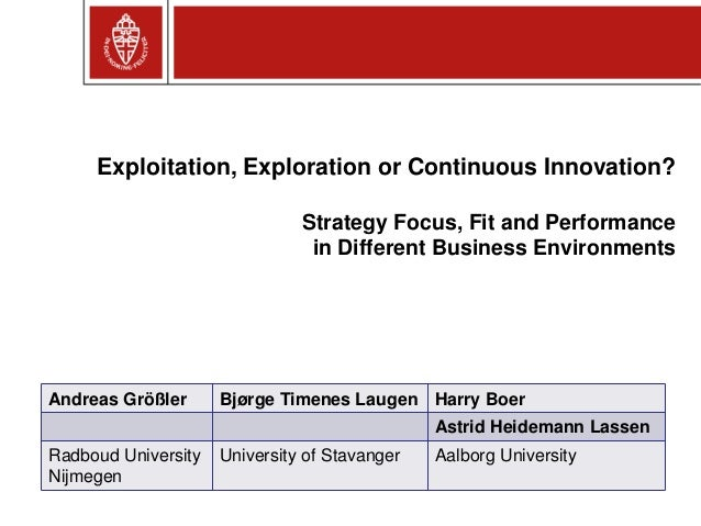 Exploitation, Exploration or Continuous Innovation? Strategy Focus, Fit and Performance in Different Business Environments...