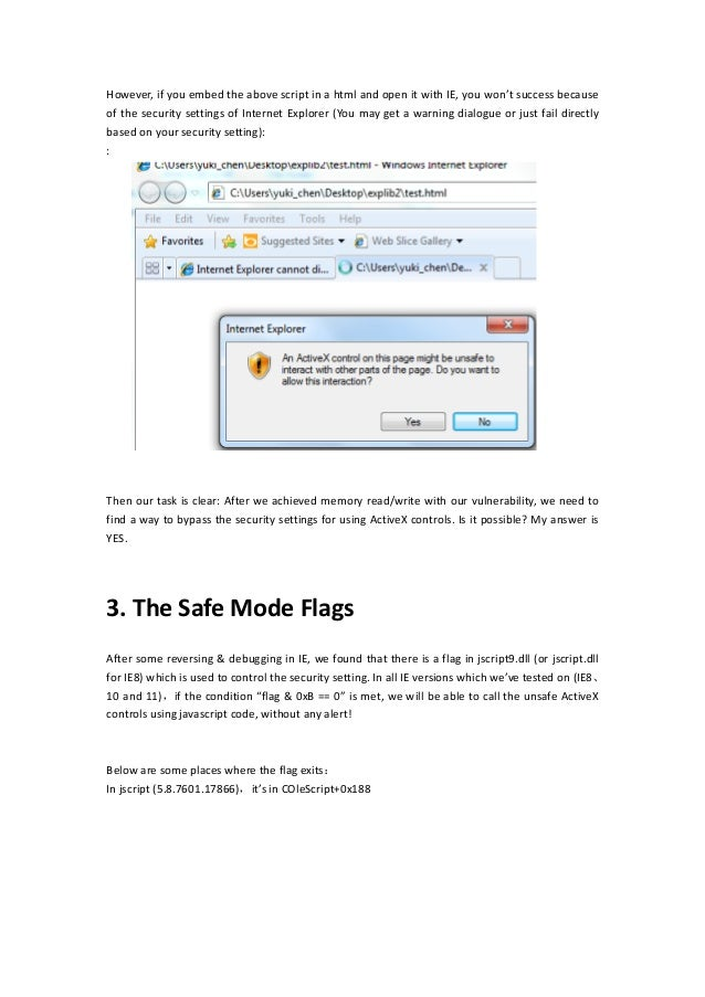 Exploit ie using scriptable active x controls version English