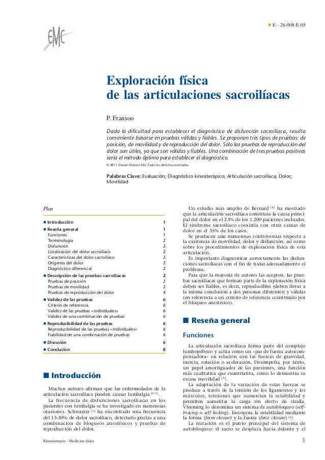 ¶ E – 26-008-E-05  Exploración física de las articulaciones sacroilíacas P. Fransoo Dada la dificultad para establecer el d...