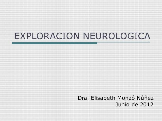 EXPLORACION NEUROLOGICA Dra. Elisabeth Monzó Núñez Junio de 2012