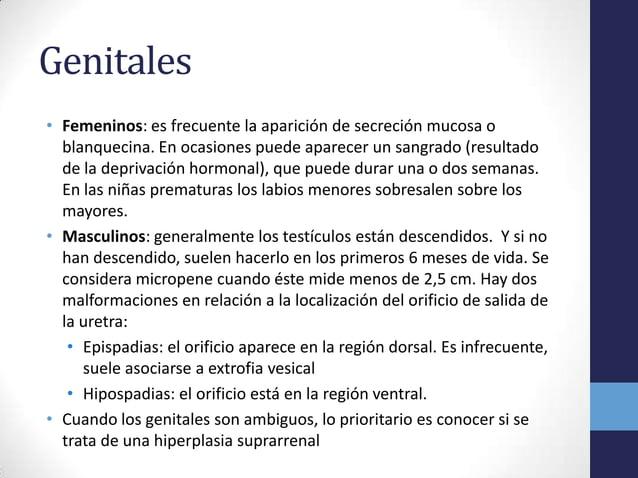 Genitales• Femeninos: es frecuente la aparición de secreción mucosa oblanquecina. En ocasiones puede aparecer un sangrado ...
