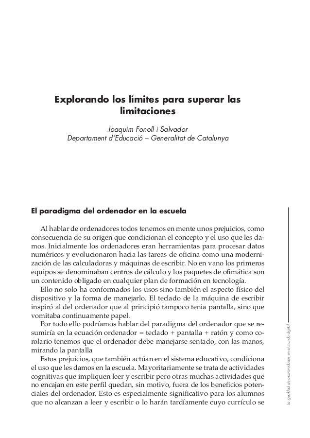 Laigualdaddeoportunidadesenelmundodigital Explorando los límites para superar las limitaciones Joaquim Fonoll i Salvador D...