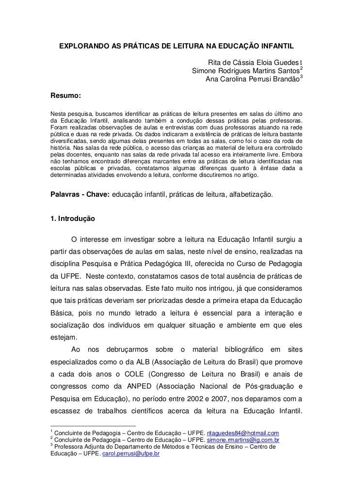 EXPLORANDO AS PRÁTICAS DE LEITURA NA EDUCAÇÃO INFANTIL                                                         Rita de Cás...