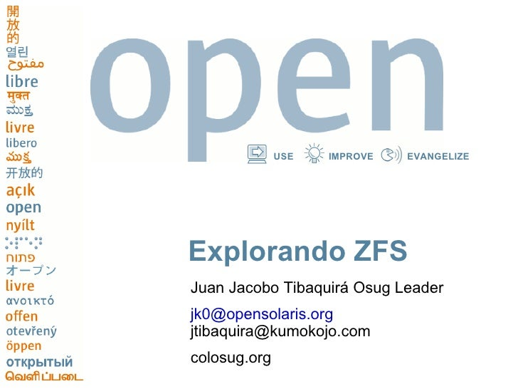 Explorando ZFS Juan Jacobo Tibaquirá Osug Leader [email_address] [email_address] colosug.org
