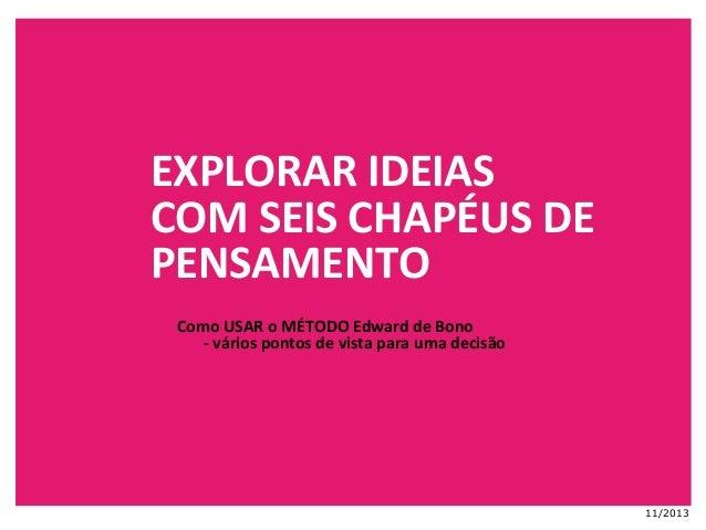 EXPLORAR  IDEIAS   COM  SEIS  CHAPÉUS  DE   PENSAMENTO   Como  USAR  o  MÉTODO  Edward  de  Bono...