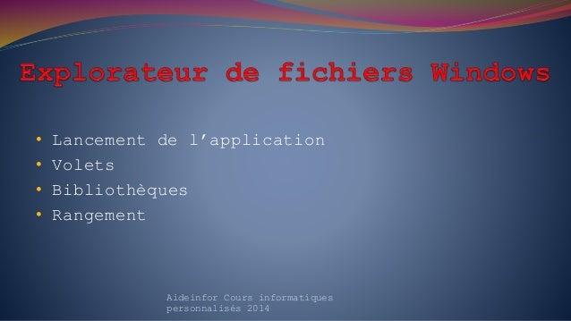 • Lancement de l'application • Volets • Bibliothèques • Rangement Aideinfor Cours informatiques personnalisés 2014