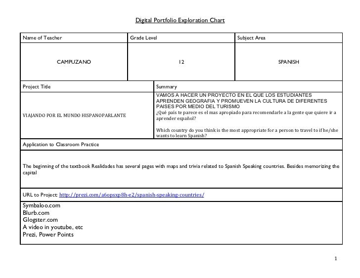 Digital Portfolio Exploration ChartName of Teacher                                Grade Level                             ...