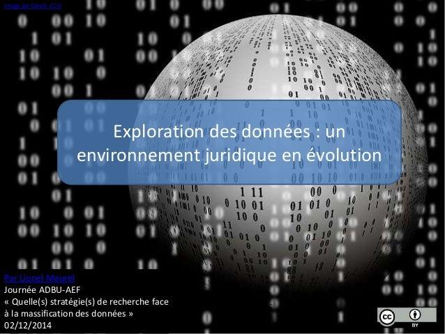 Exploration des données : un  environnement juridique en évolution  Image par Geralt. CC-0  Par Lionel Maurel  Journée ADB...
