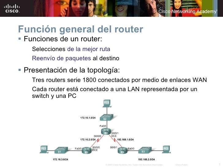 Función general del router <ul><li>Funciones de un router: </li></ul><ul><ul><li>Selecciones  de la mejor ruta </li></ul><...