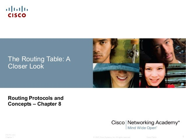 The Routing Table: A Closer Look  Routing Protocols and Concepts – Chapter 8  ITE PC v4.0 Chapter 1  © 2007 Cisco Systems,...