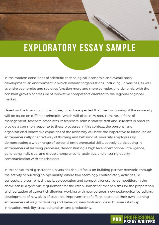 exploratory essay sample exploratory essay sample in the modern conditions of scientific  technological economic and overall social
