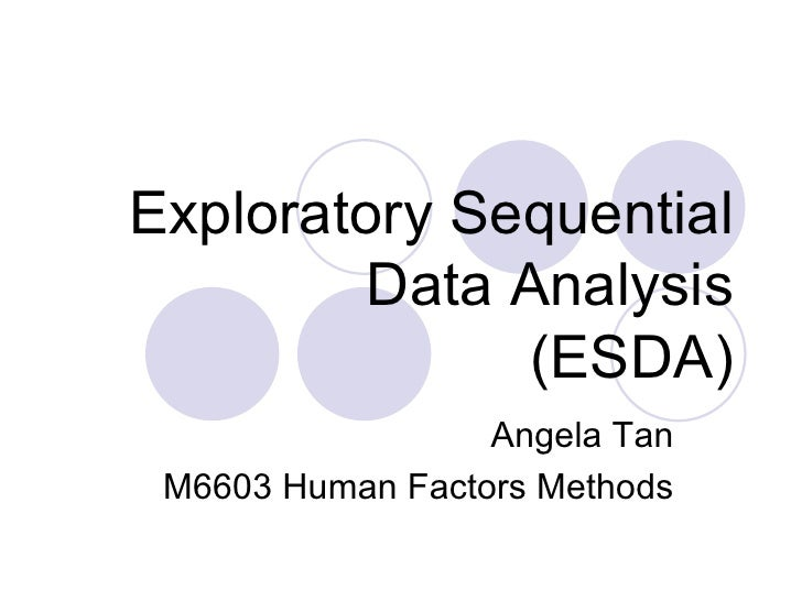 Exploratory Sequential Data Analysis (ESDA) Angela Tan M6603 Human Factors Methods