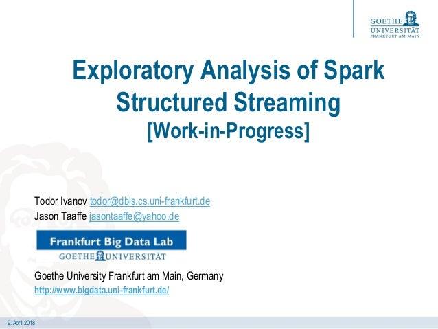 9. April 2018 Exploratory Analysis of Spark Structured Streaming [Work-in-Progress] Todor Ivanov todor@dbis.cs.uni-frankfu...