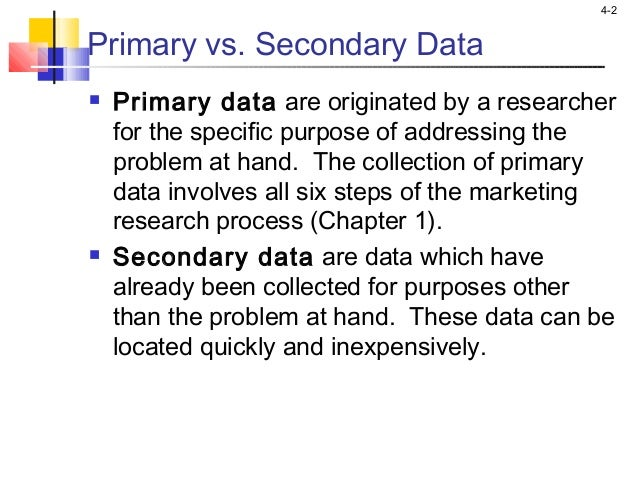 distinguish between primary data and secondry data