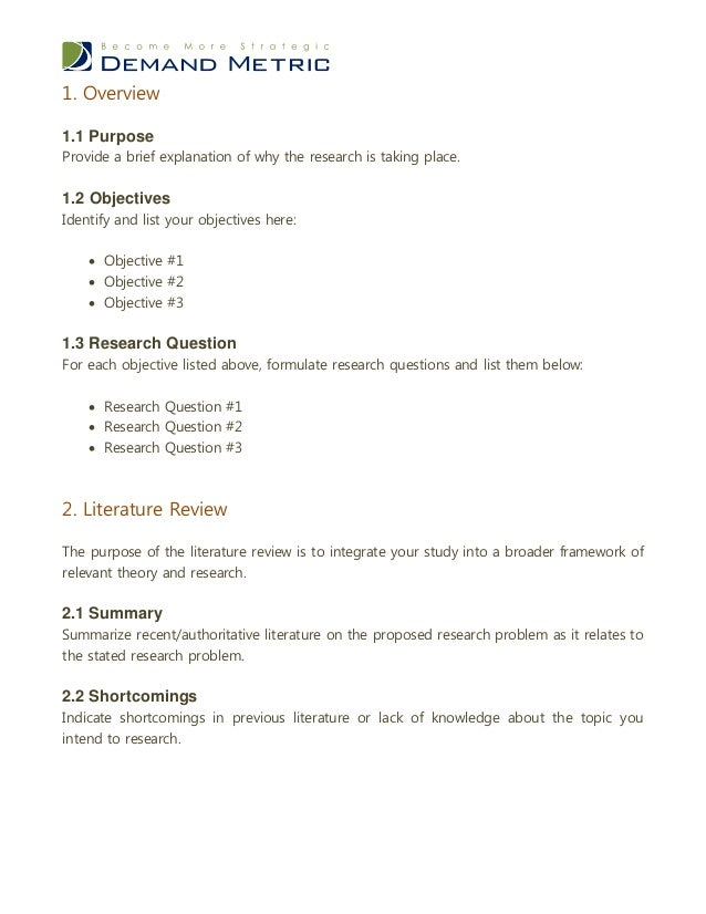 Exploratory Research Plan Template – Research Plan Template