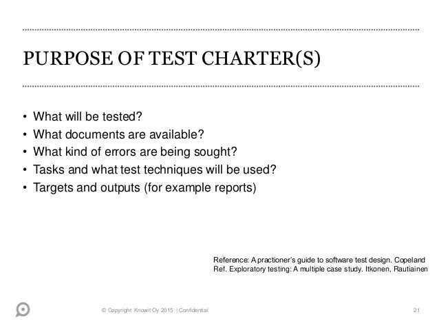 test charter template - exploratory testing basics experiences and future in