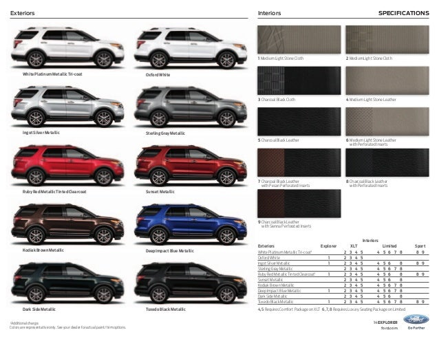 interiors exteriors specifications - 2013 Ford Explorer Cloth Interior