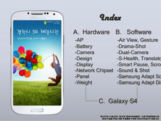 IndexA. Hardware-AP-Battery-Camera-Design-Display-Network Chipset-Panel-WeightB. Software-Air View, Gesture-Drama-Shot-Dua...