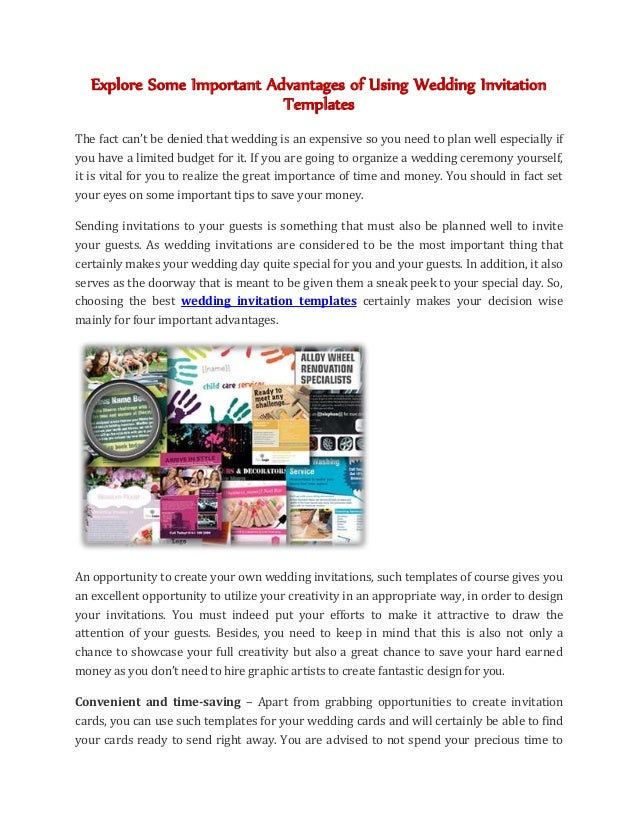 Explore Some Important Advantages of Using Wedding Invitation Templates The fact can't be denied that wedding is an expens...