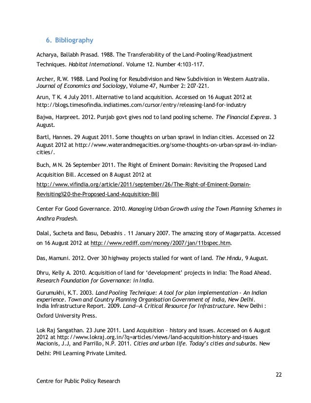 22 Centre for Public Policy Research 6. Bibliography Acharya, Ballabh Prasad. 1988. The Transferability of the Land-Poolin...