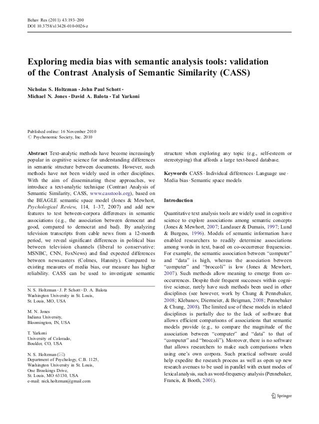 Exploring media bias with semantic analysis tools: validation of the Contrast Analysis of Semantic Similarity (CASS) Nicho...