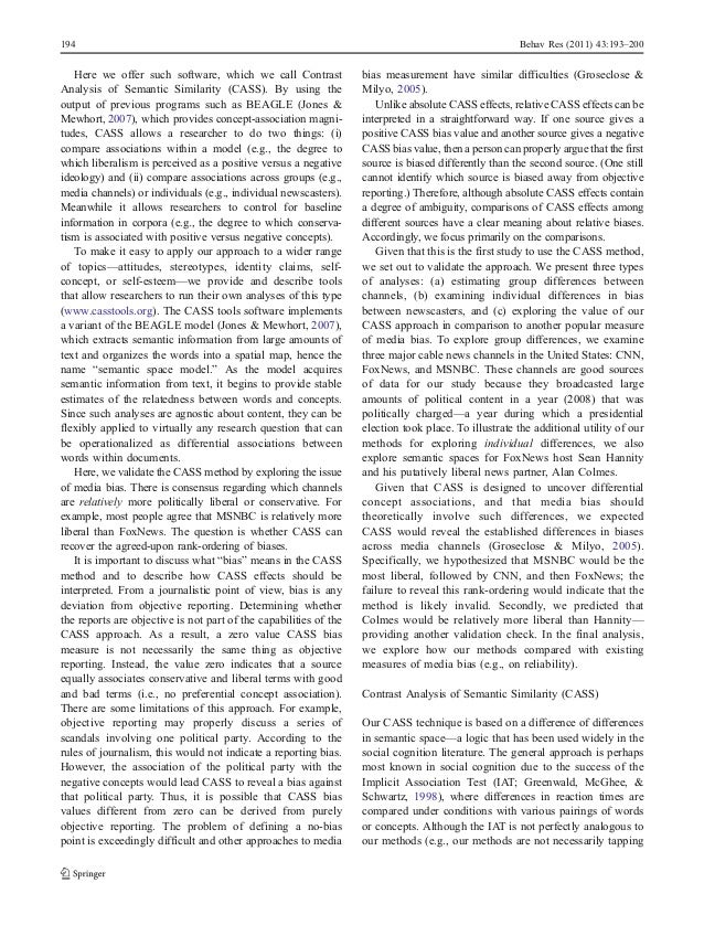 Exploring Media Bias with Contrast Analysis of Semantic Similarity (CASS) Slide 2