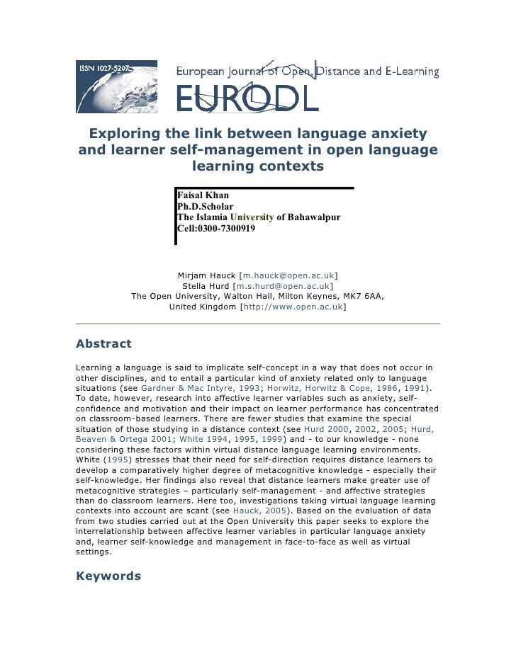 Exploring the link between language anxiety and learner self-management in open language                learning contexts ...