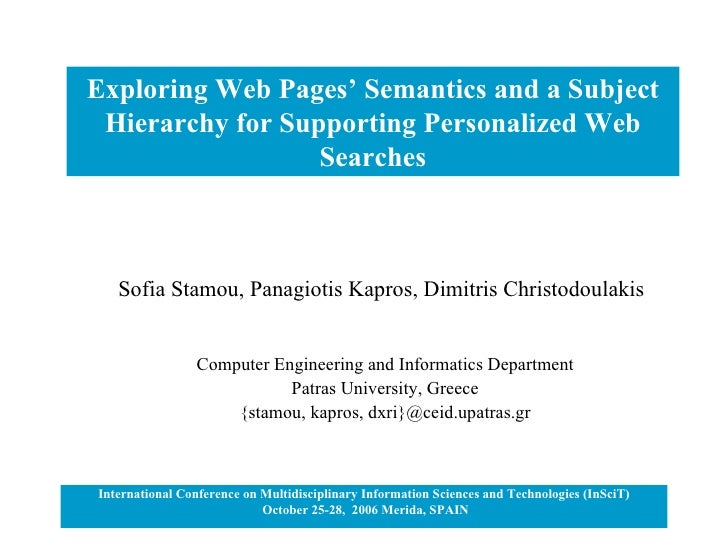 Exploring Web Pages' Semantics and a Subject Hierarchy for Supporting Personalized Web Searches International Conference o...