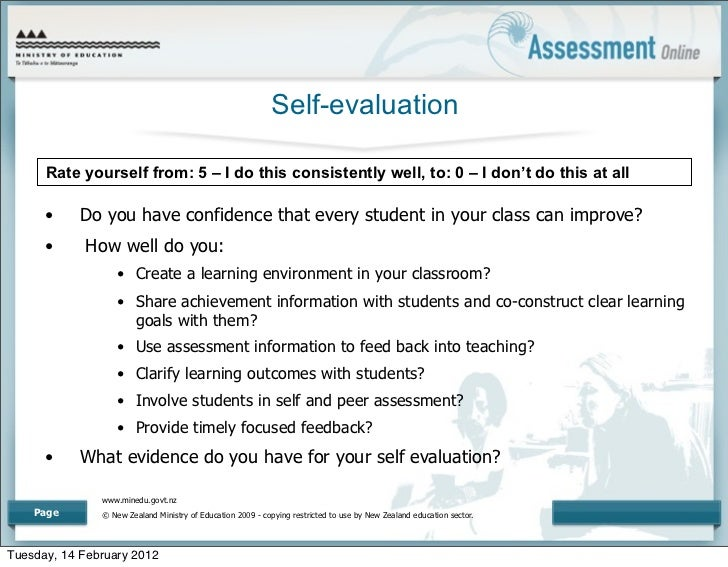 self assesment of learning Self-assessments what kind of student what's your learning style many people use a combination of learning styles, whereas others learn best by using just one.