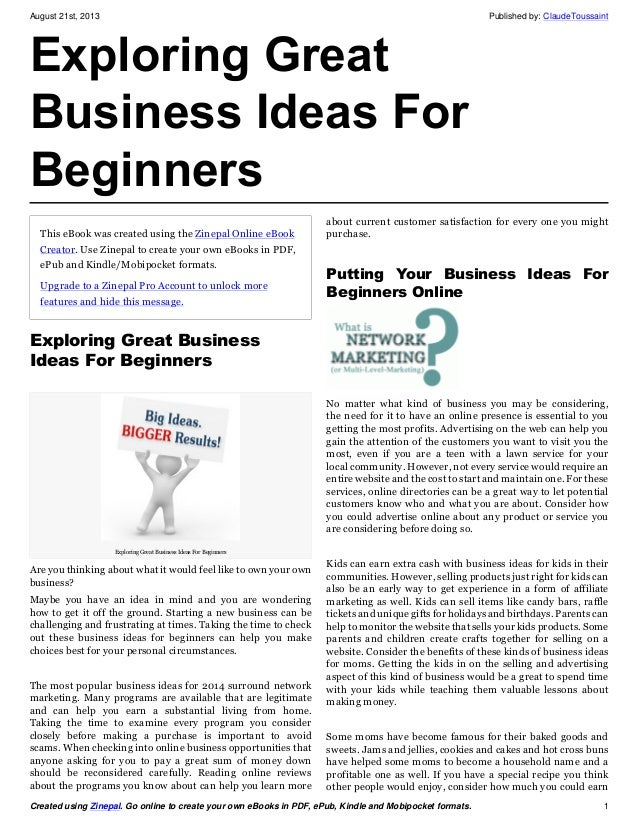 Business ideas in india for beginners pdf creator